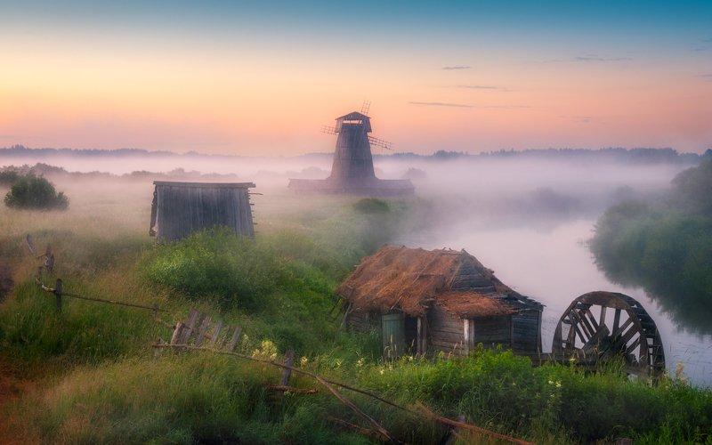 утро, мельница, река, туман, рассвет, деревня Там чудеса....photo preview