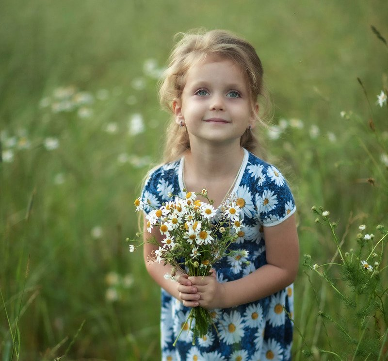 девочка, ромашки,лето,красота, эмоции, kids, children, beautiful, summer, nature, chamomile, flower, emotions Ромашковое летоphoto preview