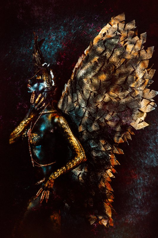 woman, beauty, art, indoors, body-art, conceptual Her wings are black and Her soul is freephoto preview