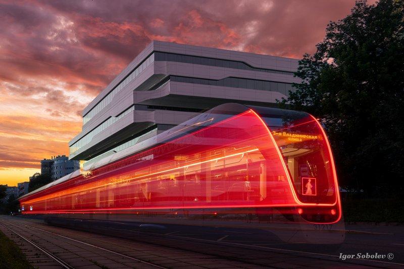 москва, вечер, трамвай, город Ночной трамвайphoto preview