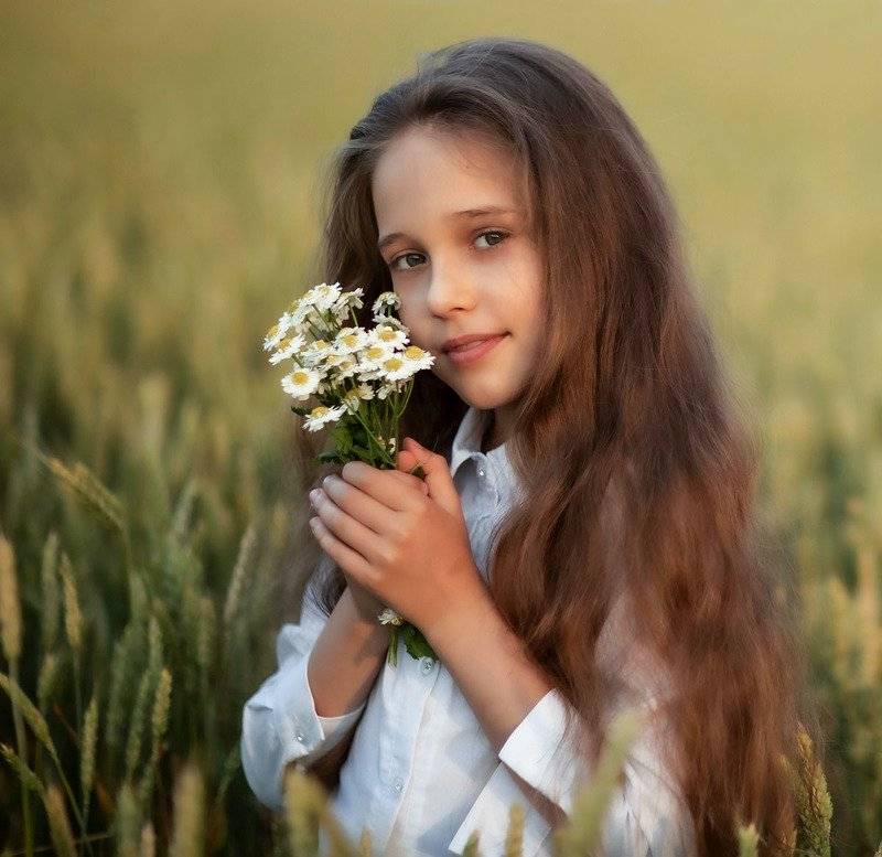 девочка, красотка,ромашки,лето,поле,пшеница, girlie, beautiful, summer, chamomile, wheat, nature Из серии-летоphoto preview
