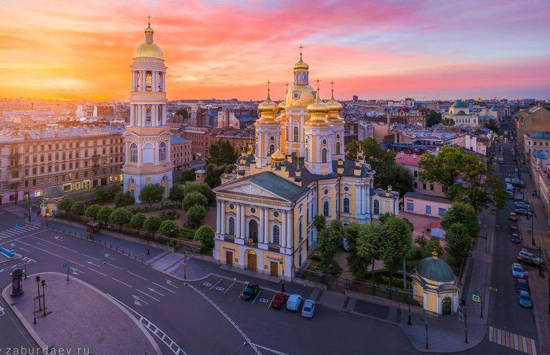 россия, петербург, рассвет, лето, собор, церковь, дрон Владимирский соборphoto preview