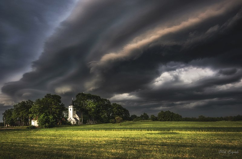 sunset, clouds, green, sunlight, light, village, rural, trees, nature, dramatic, sky, summer, storm, countryside, cottage, architecture, church Rolling Wavesphoto preview