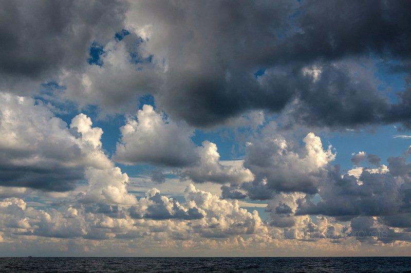 Sky, clouds, landscape, sea, Black Sea, horizon, blue, white, water, space The sky over the Black Sea / Небо над Черным моремphoto preview
