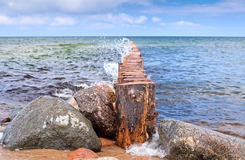 Волнорез, море, лето, голубой, синий, Балтика, балтийское Балтика photo preview