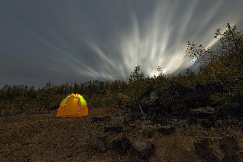 ночь, осень, облака, луна, карьер Восход луныphoto preview