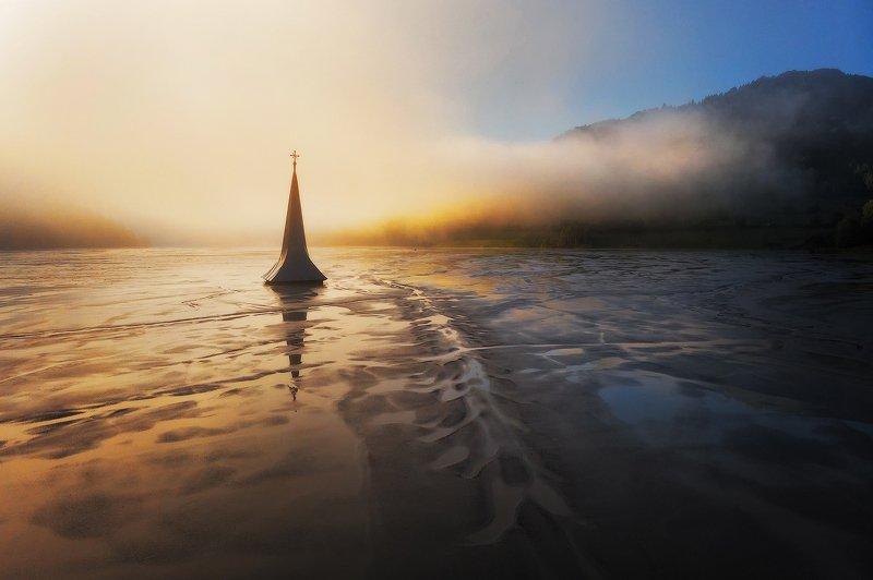 trees, fog, sunrise, landscape, travel, nature, mountain, romania, lake, church, misty, dramatic Light of Shadowsphoto preview