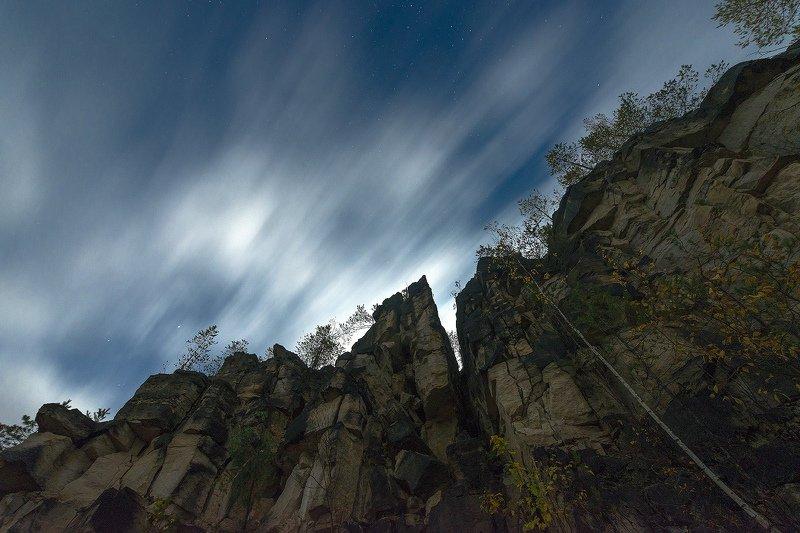 ночь, облака, звезды, карьер Дюкинский карьерphoto preview