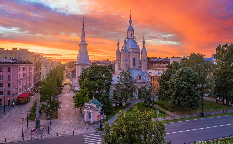 россия, петербург, вечер, закат, лето, дрон Андреевский соборphoto preview