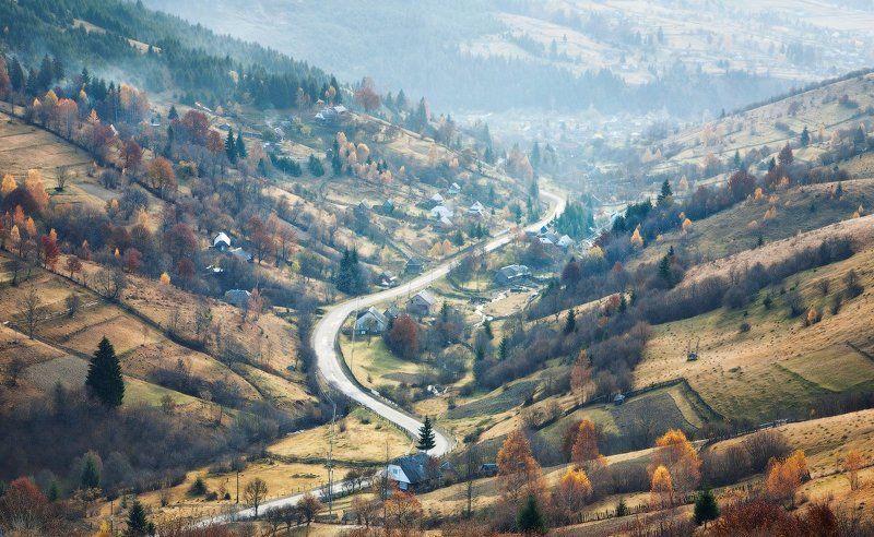 карпаты, утро, деревня, дорога ...Карпатская бытность...photo preview