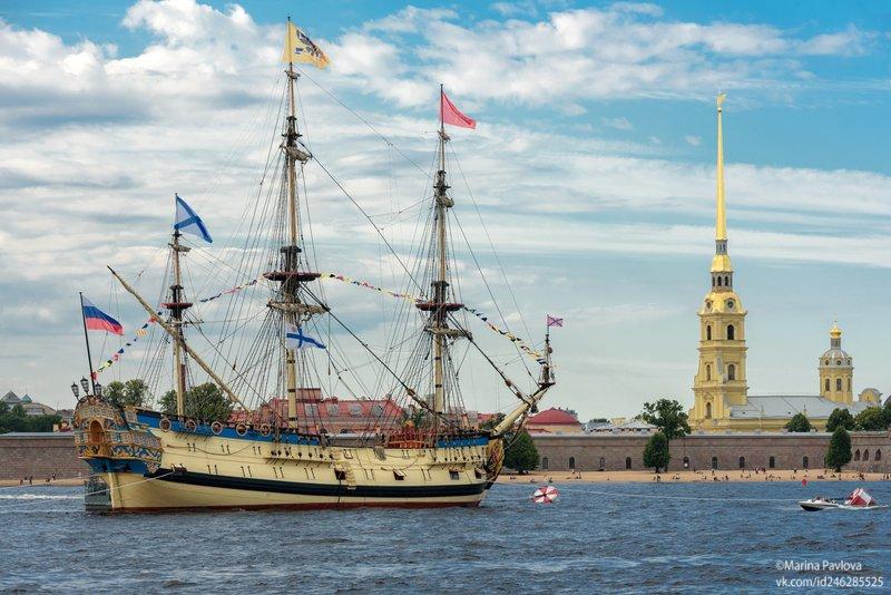 город, санкт-петербург, парусник полтава, корабль, фрегат, река нева, петропавловская крепость, праздник вмф Корабли в нашей гавани...photo preview