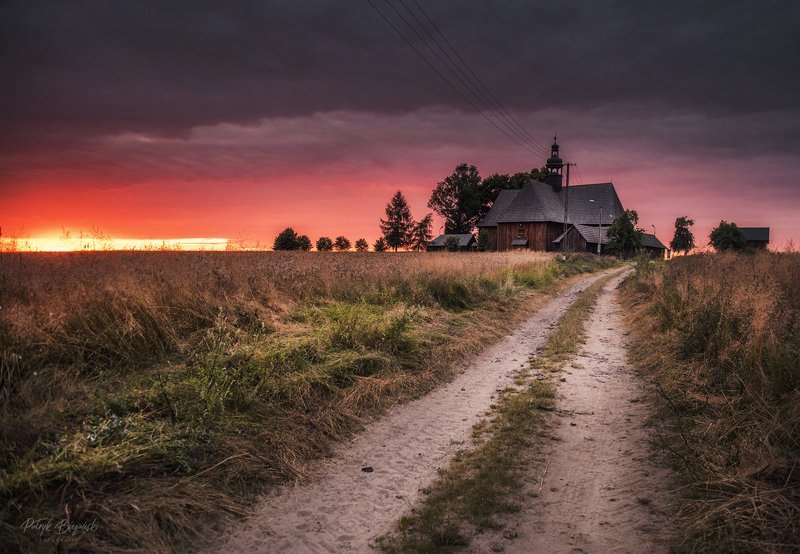 sunset, clouds, green, sunlight, light, village, rural, trees, nature, dramatic, sky, summer, storm, countryside, cottage, architecture, church, wooden, sunset, sky, light, colors Crackphoto preview