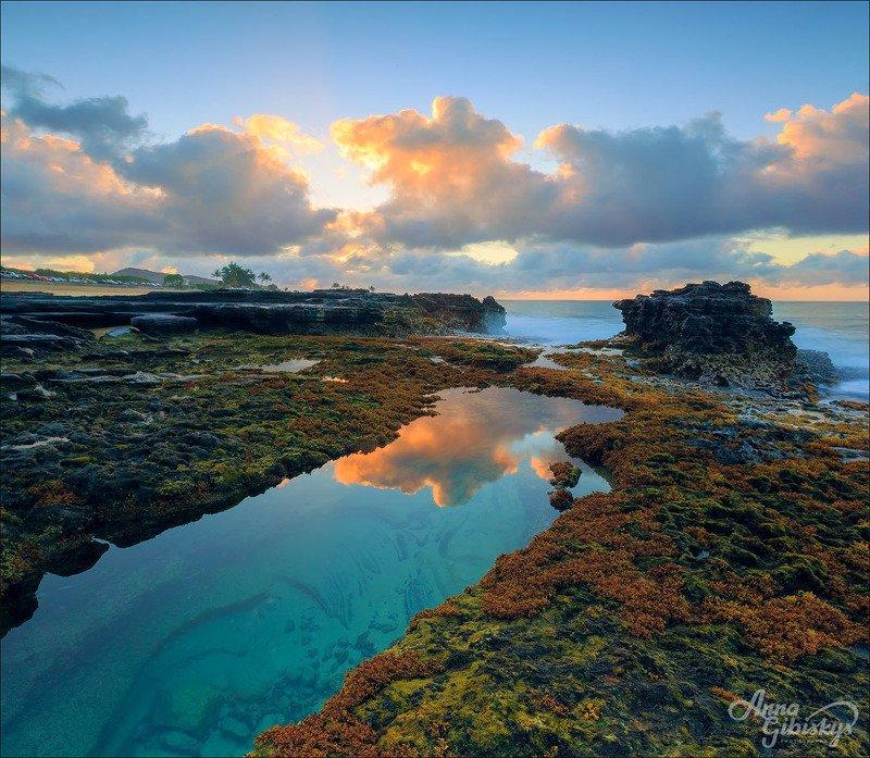 морской пейзаж, гавайи, сша, рассвет, вулкан, лава,  Volcanic beach.photo preview