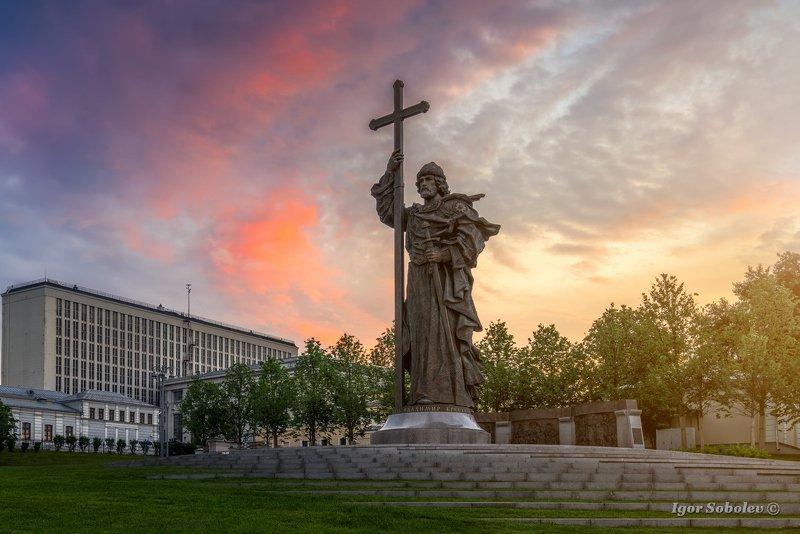 князь владимир, памятник, москва, рассвет Князь Владимирphoto preview