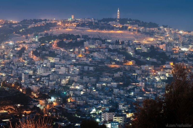 Иерусалим, Израиль, Палестина, Архитектура, религия, храм, церковь, закат, рассвет, город, пейзаж, открытка, крыша, architecture, urban, sunset, sunrise, religion, church, cathedral, jerusalem, israel, palestine,arab, muslim, night, ночь, Blue hour Арабская ночь в Иерусалимеphoto preview