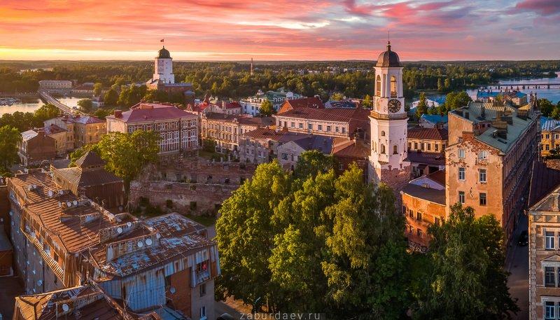 россия, ленобласть, ленинградская область, вечер, закат, лето, дрон, квадрокоптер Выборгphoto preview