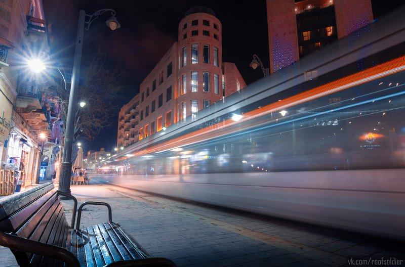 Иерусалим, Израиль, выдержка, город, пейзаж, открытка, ночь, улица, urban, street, tram, city, cityscape, israel, jerusalem, long exposure, трамвай, postcard Иерусалимский трамвайphoto preview