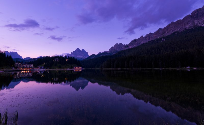 landscape lake Misurina Dolomites blue hour water sky colors mountains transparency seaweeds Blue hour at lake of Misurinaphoto preview