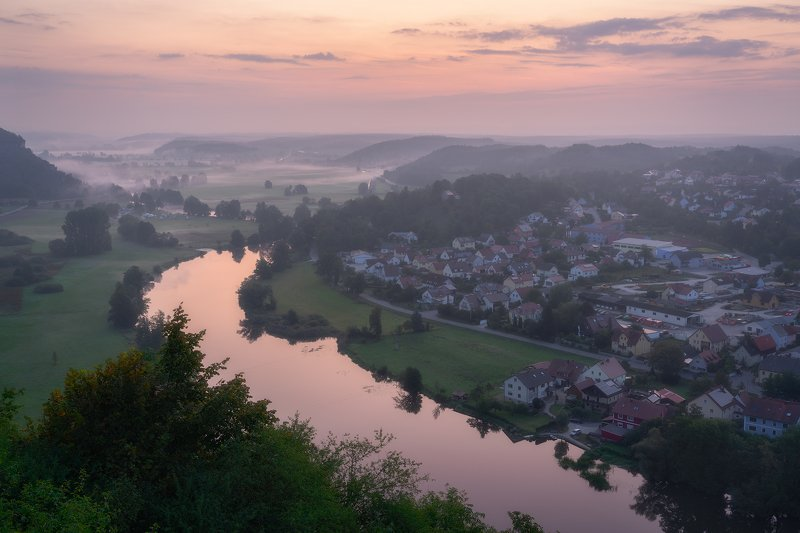 Bavaria, bush, Field, Fields, fog, Forest, germany, Grass, Hill, houses, Kallmuenz, Kallmuenz Castle, Kallmünz, Lights, Meadow, mist, Misty, morning, Morning Fog, Mountain, Naab, Naab Valley, outdoors, Picturesque, River, Steeple, Town, trees, Vally, Vill The River Naabphoto preview