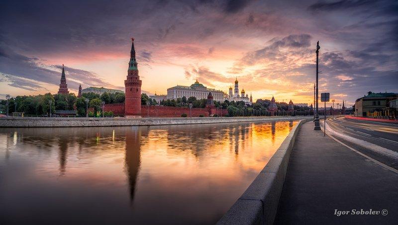 москва, кремль, москва-река, утро, moscow, kremlin, moscow river, morning Рассвет над Кремлемphoto preview