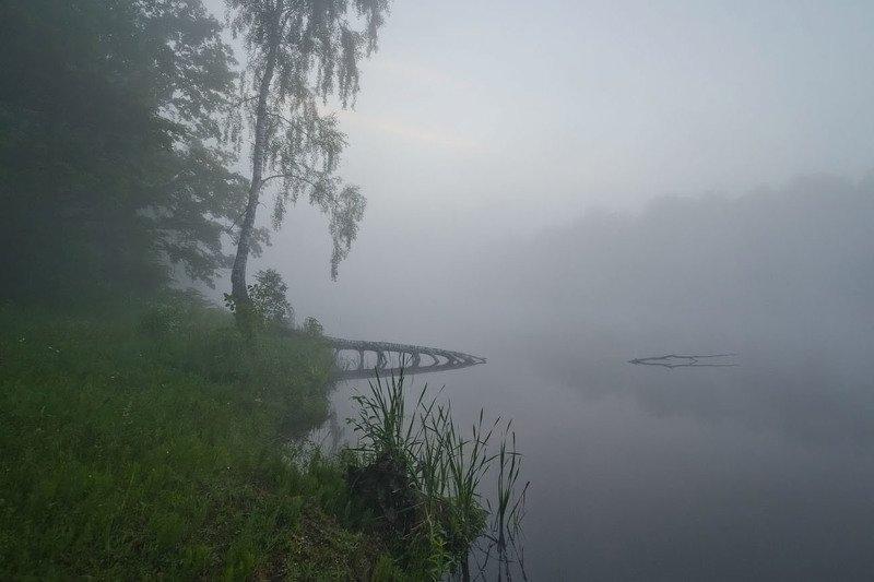 утро, туман, озеро новое, грумант Туманноphoto preview