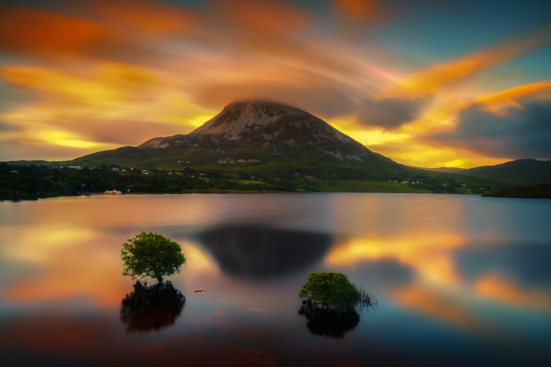 ireland,errigal,sunrise,reflections Errigal reflectionsphoto preview