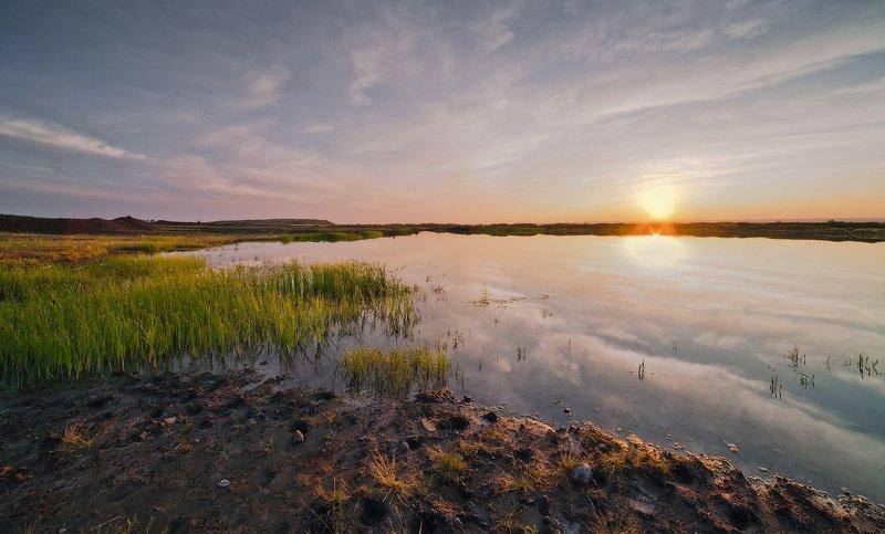 закат, степь, болото Вечерело...photo preview