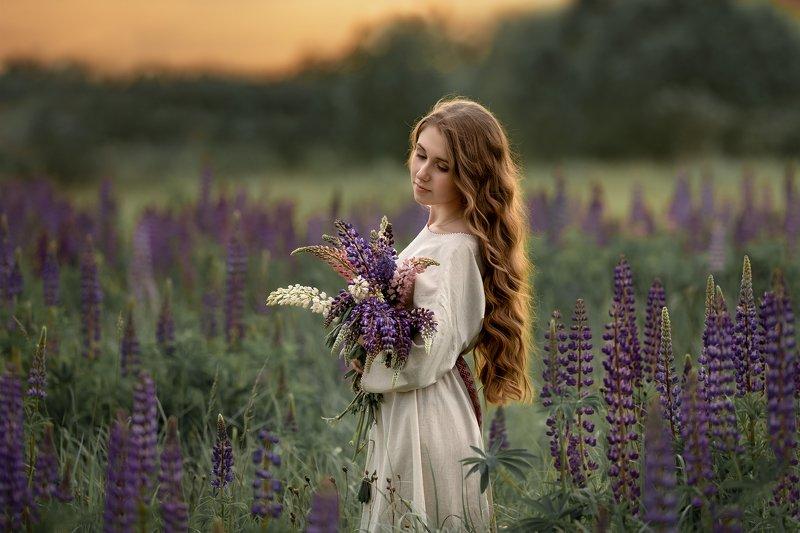 портрет, девушка, женский, портрет, закат В люпиновых поляхphoto preview