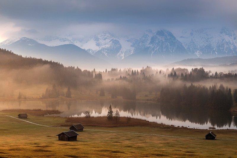 mountains, bavaria, germany, sunrise, landscape, nature, travel, autumn, fog, clouds Bavarian Morningsphoto preview