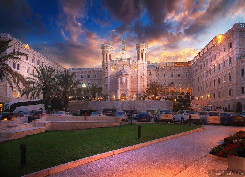 Иерусалим, Израиль, город, пейзаж, открытка, ночь, улица, urban, street, city, cityscape, israel, jerusalem, postcard, Notre Dame, architecture, time blending, sunset, sunrise, закат, рассвет Notre Dame Jerusalemphoto preview