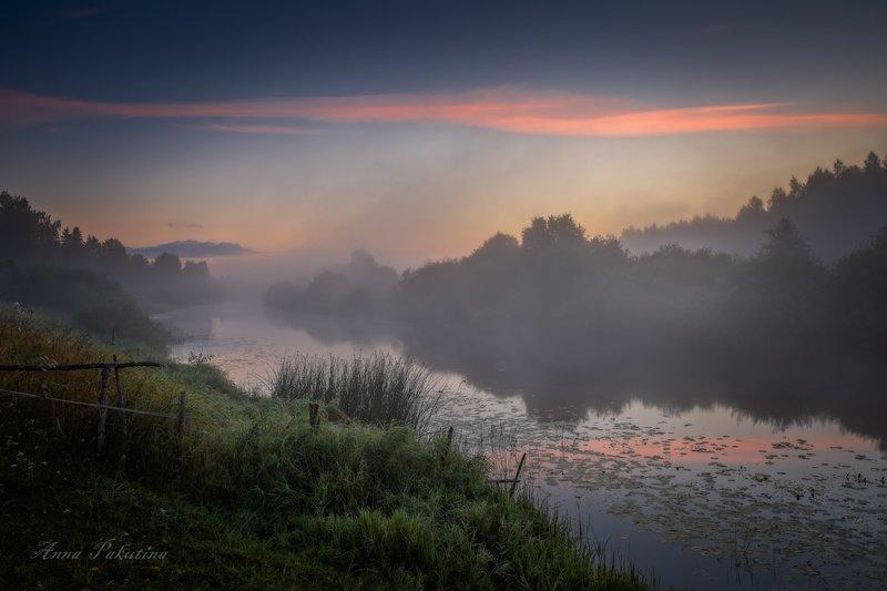 Утро в Пушкинских Горах, на берегу реки Сороть.photo preview