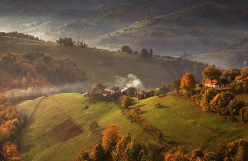 autumn, trees, light, village, landscape, travel, nature, mountain, romania, cold, sunrise Autumn Storyphoto preview
