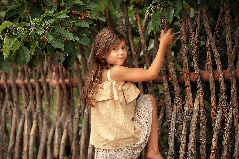огород, деревня, черешня, вишня, девочка, лето, каникулы, прыжок, тепло За черешней в чужой огородphoto preview