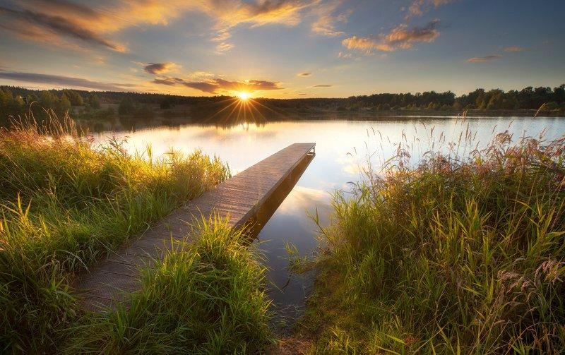 подмосковье, река, закат, вечер, озеро, пруд, мост, тишина Вечер в Подмосковьеphoto preview
