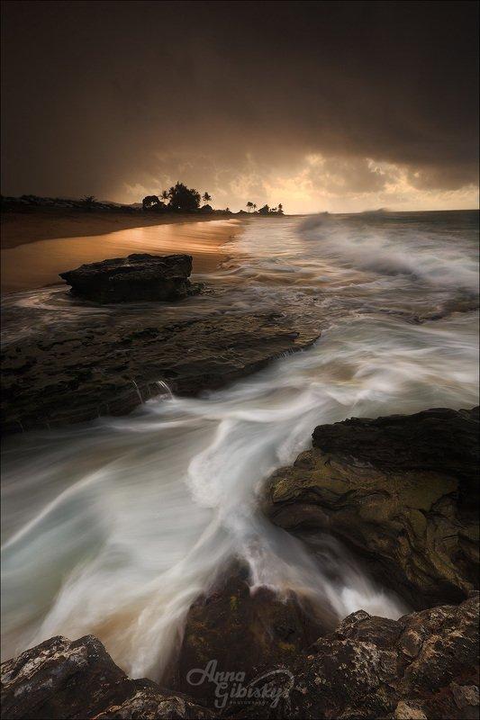 гавайи, оаху, остров, морской пейзаж, фототур, пшишылны, океан Штормовое утроphoto preview