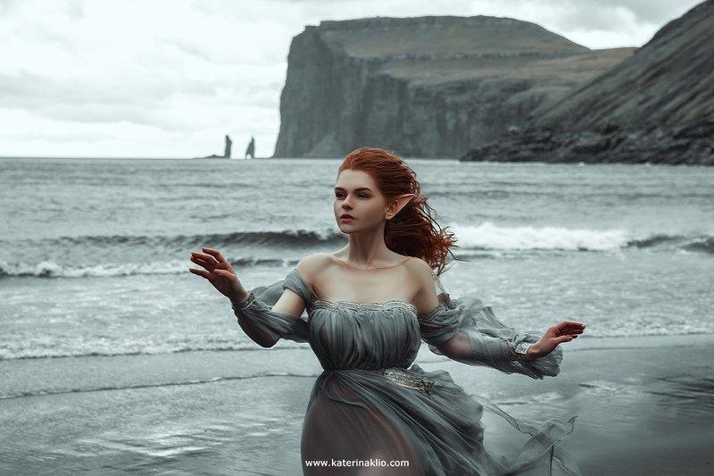 elf, Scandinavia, fog, nature, landscape, fairy, Faroe, wind, wild, model, woman, ocean, Scandinavian Elfphoto preview
