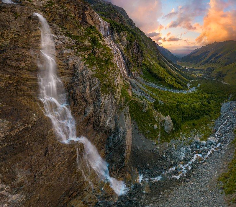 гора, горы, скала, архыз, лето, кавказ, софийские водопады, водопад, закат, туризм, путешествие, каскад, река, долина, Софийский водопадphoto preview