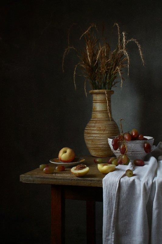 натюрморт, колосья, виноград, нектарины, фрукты *photo preview