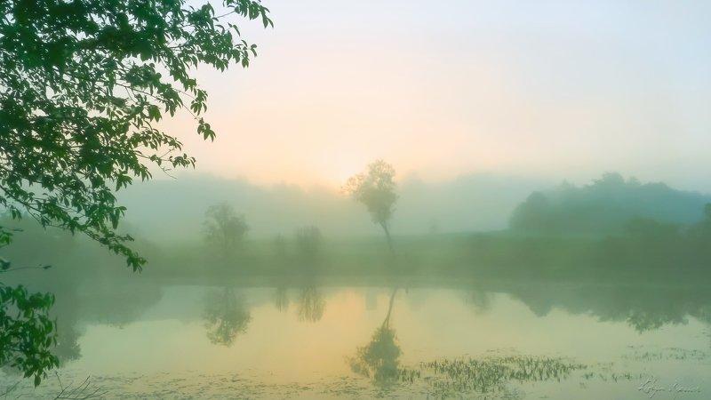 пейзаж, туман, утро, над водой теплое утроphoto preview