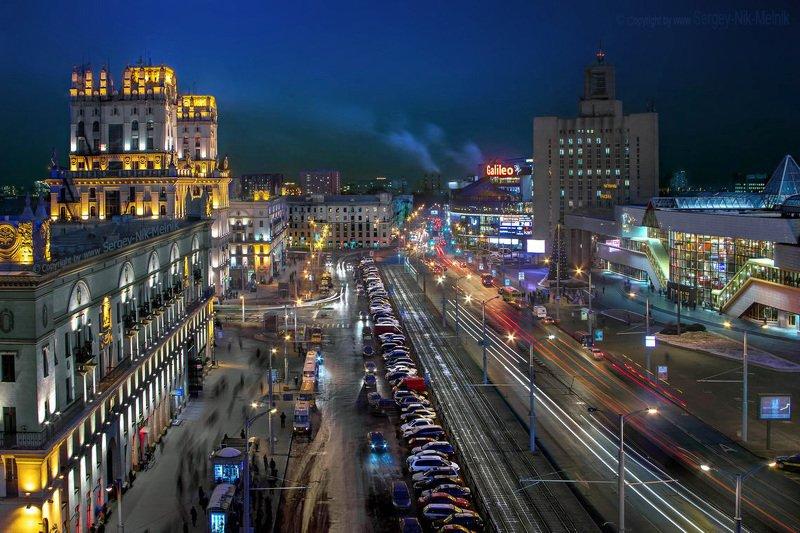 беларусь, город, минск, вечер, фотосфера-минск До отправленья поезда…photo preview