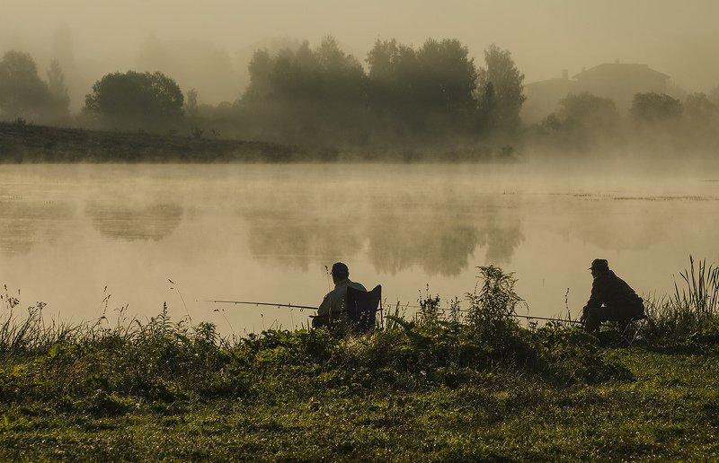 утро, туман, архангельское, рыбалка, рыбаки Рыбаки. Архангельскоеphoto preview