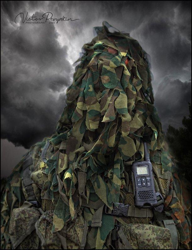 Портрет военного разведчика с голубыми глазами....photo preview