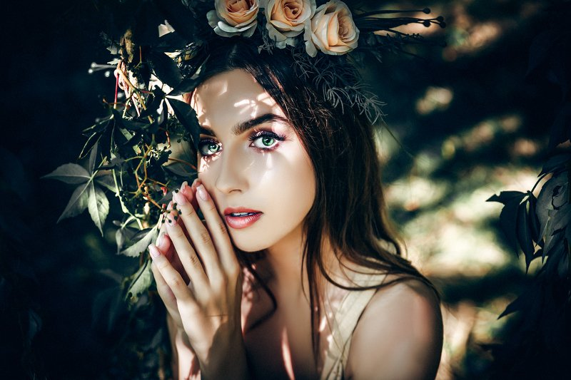 woman, beauty, portrait, art, outdoors, light Her eyes looked like a fairy talephoto preview