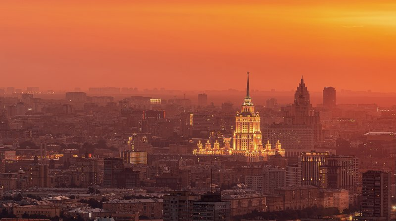 sunrise, moscow, city, russia, architecture, москва, город, рассвет, москва, гостиница Рассветphoto preview