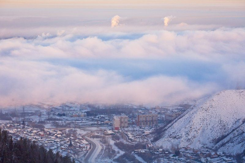 красноярск, енисей, утро, туман, город, расвет Красноярское утроphoto preview