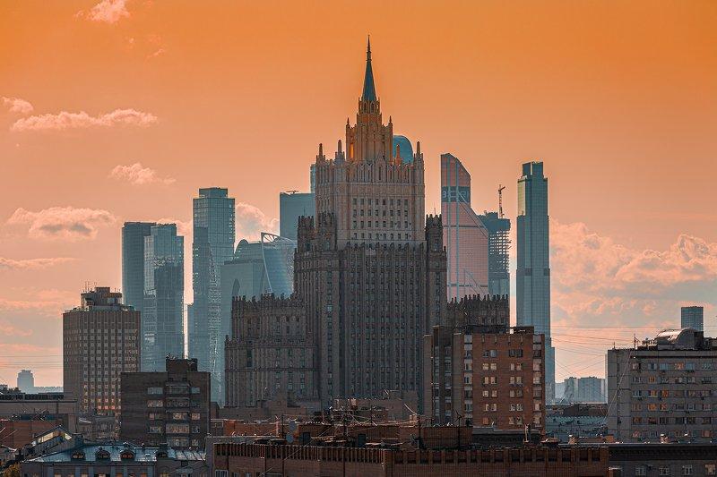мид, москва, закат, солнце, яркий, оранжевый, сити Закат photo preview