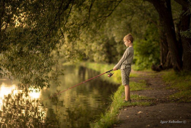 портрет, мальчик, рыбалка, рыболов Рыбачокphoto preview