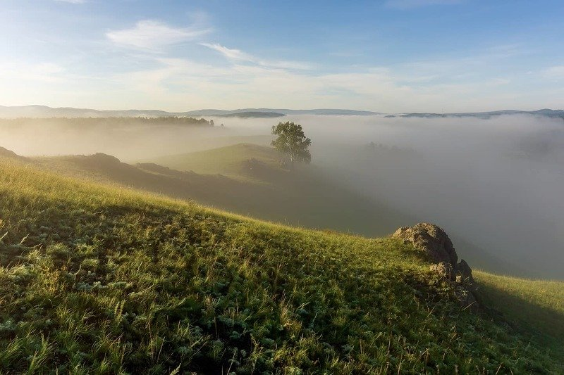 утро, рассвет, восход, туман, лучи Море тумановphoto preview
