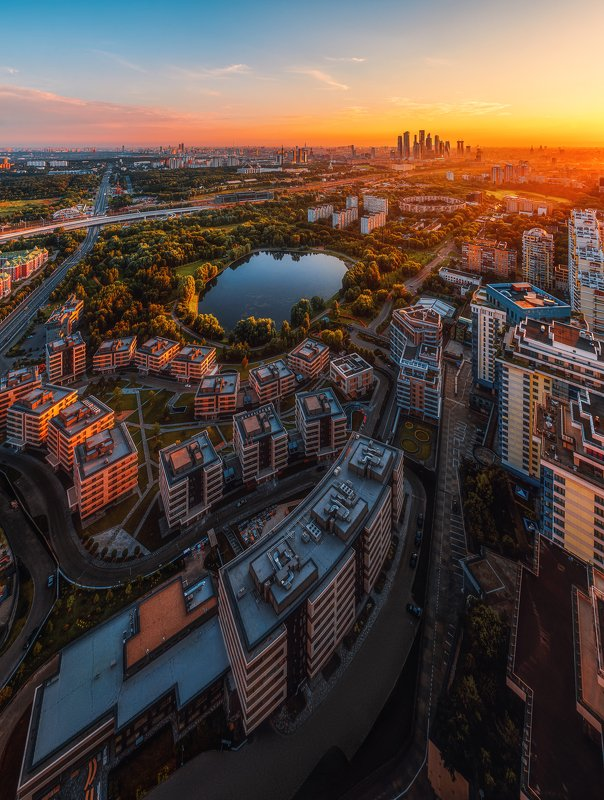 sunrise, moscow, city, russia, architecture, москва, город, москва, рассвет, москва сити Панорама с ЖК \