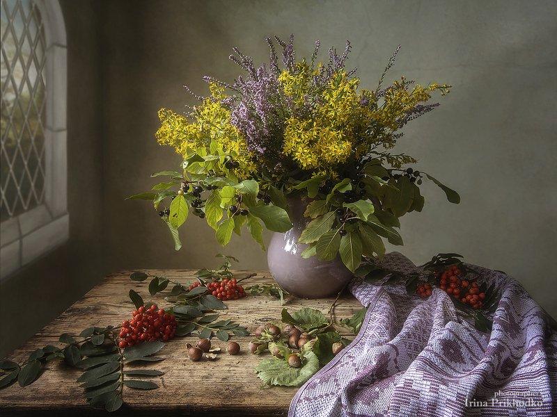 натюрморт, осень, букет, лесные цветы, рябина, художественное фото Вот и закончилось лето...photo preview